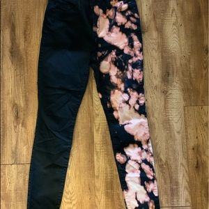 Half bleached washed black jeans